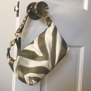 Gold and cream zebra coach purse